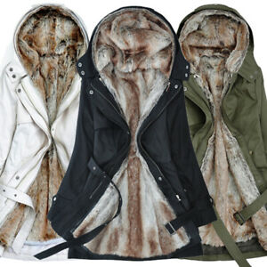 Women's Trench Coat Winter Warm Fur Lined Thicken Overcoat Hooded Jacket Outwear