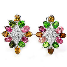 Sterling Silver 925 Genuine Natural Tourmaline & Chrome Diopside Earrings #3