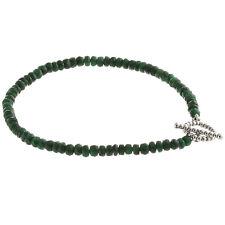 "925 Sterling Silver Toggle Clasp Bracelet / Genuine Natural Emerald 7.5"" Long"