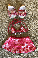 BUILD A BEAR Clothes Red Floral Bathing Suit Skirt Checkered Shoes Sandals