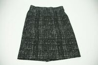 Nicole Miller Womens Pencil Skirt Sz S Black White Back Slit Office Work Elastic