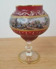Vintage Red Gold Bohemian Glass Pedestal Bowl Hand Painted