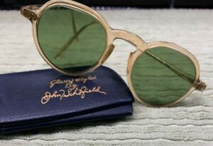 Vintage American Optical 1930's Sunglasses Amber/Olive Keyhole Excellent RARE!