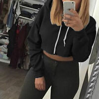 Womens Casual Pullover Hooded Sweatshirt Jumper Hoodie Crop Tops Shirts Sweater
