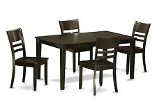 5pc Capri dining set, dinette table +4 Lynfield wood seat chairs in cappuccino