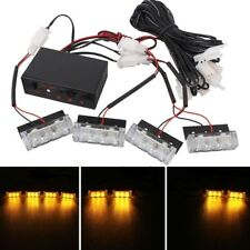 TECH 4 x 3 LED Car Front Grille Police Warning Lights Yellow Flashing Waterproo
