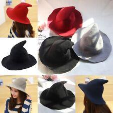 Halloween Witch Hat Women Knit Wool Blend Wide Brimmed Wizard Hat Cap Cosplay