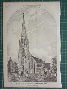 1877 DATED ARCHITECTURAL PRINT SLOUGH PARISH CHURCH J. SCOTT ~ MEMORIAL STEEPLE