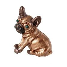 Cute Gold Plated Brown Enamel Green Crystal  Pug Dog Statement Brooch