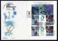 España 3991 2003 Hojita sobre Primer Día matasello Campeonatos de Natación Barce