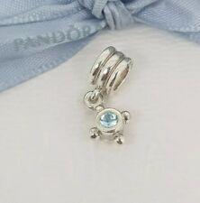 Authentic Pandora Compass Blue Topaz Silver Dangle Pendant Charm 790235BTP NEW