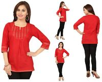 Top Pakistani Designer Cotton Kurta Kurti 3/4 Sleeve Tunic Dress Women MM59B