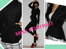 MPO Black Jacket Coat Bustle Fishtail Fitted Striped Blogger TOP Fish tail 4 6 8