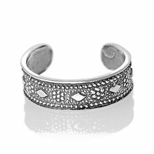 Diamond Disgn Toe Ring Sterling Silver 925 Best Adjustable Jewelry USA Seller
