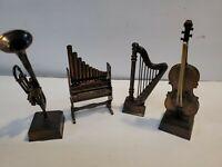 A Lot Of 4 Vintage Musical Instrument Pencil Sharpeners, harp organ horn bass