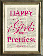 Old Antique Dictionary page Art Print - Happy Girls Quote Audrey Hepburn