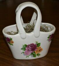 Old porcelain floral basket from Pat Catan's floral arrangements- ROSES decal