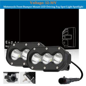 2PCS Motorcycle Front Bumper Mount LED Driving Fog Spot Light Spotlight Kit