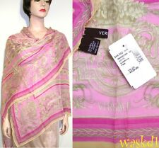 "VERSACE pink Baroque FLOWERS Cashmere blend Large 52"" Pashmina scarf NWT Authent"