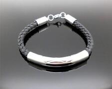 316L S/Steel & Braided Leather Cord Cremation Memorial Keepsake Urn Bracelet NIB
