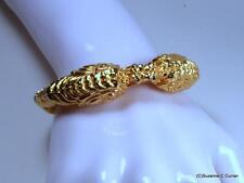 Vintage Kenneth Jay Lane KJL Gold Plated Dragon Hinged Cuff Bracelet