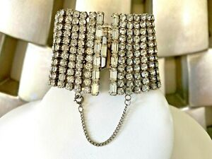 Vintage Signed Weiss 11 Row Clear Wide Rhinestone Bracelet with Rectangle Stones