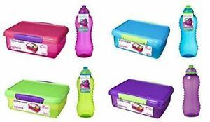 Sistema Medium Plastic Kids School Sandwich Lunch Box With 460ml Bottle Assorted
