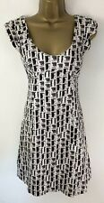 Karen Millen Dress Black Brown Jewel Block Print Logo Detail Cap Sleeve Size 10