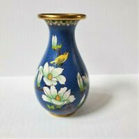 Vintage Blue Cloisonne Vase Yellow Bird White Flowers Enamel on Brass