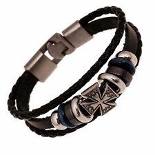 Bracelet Pour Hommes Tressé Cuir Authentique Cuir Bracelet Croix Médiévale
