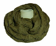 Tube Scarf Loop Round Scarf Knitted Knitted Scarf Cable Knit Olive tbj008