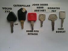 6 Heavy Equipment Keys Volvo CAT John Deere H800 AR51481 Komatsu 787 Case Bobcat