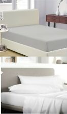 """SATEEN 100% EGYPTIAN COTTON 400TC FITTED SHEET 23CM / 9"""" BOX DEPTH WHITE, SILVER"""