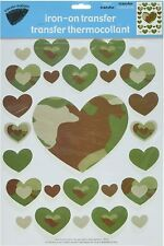 Camouflage Hearts Design: Iron-on Heat Transfers for Fabric/Clothing Decoration