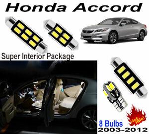 8pcs Super White LED Interior Dome Light Kit For Honda Accord 2003-2012 Package