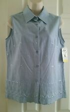 NWT NOTATIONS SPORT Women's Sleeveless Shirt Blouse Chambray Blue Embroidered S