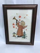 Vintage HUMMEL Needlepoint Angel Boy Framed