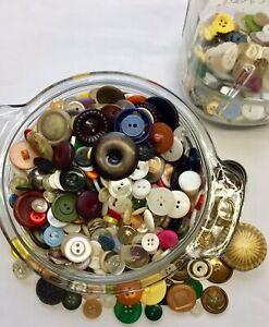 Antique Ball Jar of Vintage Buttons all shapes & sizes Half Mason Jar Zinc Lid