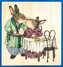 Holly Pond Hill Morning Kiss Rubber Stamp - Rabbits Love Marriage Anniversary