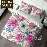 Pink Rose Floral Flowers Pink Quilt Doona Cover Sets Fine Breathable Cotton