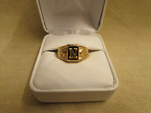 "Initial ""N"" Boys/Small Finger 10kt Yellow Gold Filled Ring With Genuine Onyx Sto"