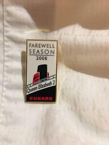 Queen Elizabeth 2 Pin Last Cruise Voyage Dubai Farewell  2008 Cunard Ship Enamel
