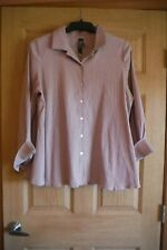 Marla Wynne Women's Blouse NWT 1X PLUS Crinkled Dusty Rose Button Up Shirt