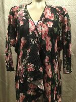 Lularoe Shirley Black Pink Roses Kimono Cover Up Womens Medium New