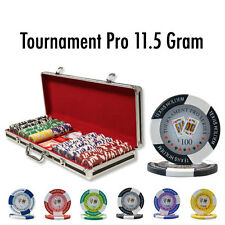 New 500 Tournament Pro 11.5g Clay Poker Chips Set Black Aluminum Case Pick Chips