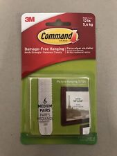 NEW 3M COMMAND MEDIUM PICTURE & FRAME HANGING STRIPS  HOLDS 5.4Kg 12lbs 6pairs