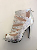 NEW WOMENS LADIES PARTY GLITZY STONES HIGH HEEL PEEP TOE ANKLE BOOTS SHOES SIZE