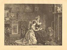Weddings, Marriage, An Offer by J.R. Ashton, Vintage 1876 Antique Art Print,