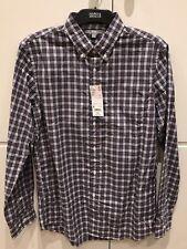Men's UNIQLO Button Down Fine Cotton Long Sleeve Grey Check Shirt Size Medium