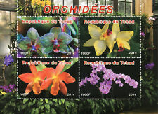 Chad 2014 MNH Orchids Flowers 4v M/S Plants Nature Stamps
